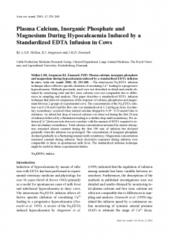 Plasma Calcium, Inorganic Phosphate and Magnesium During Hypocalcaemia Induced by a Standardized EDTA Infusion in Cows