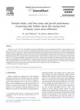 Nutrient intake, acid base status and growth performance of growing male buffalo calves fed varying level of dietary cation anion difference