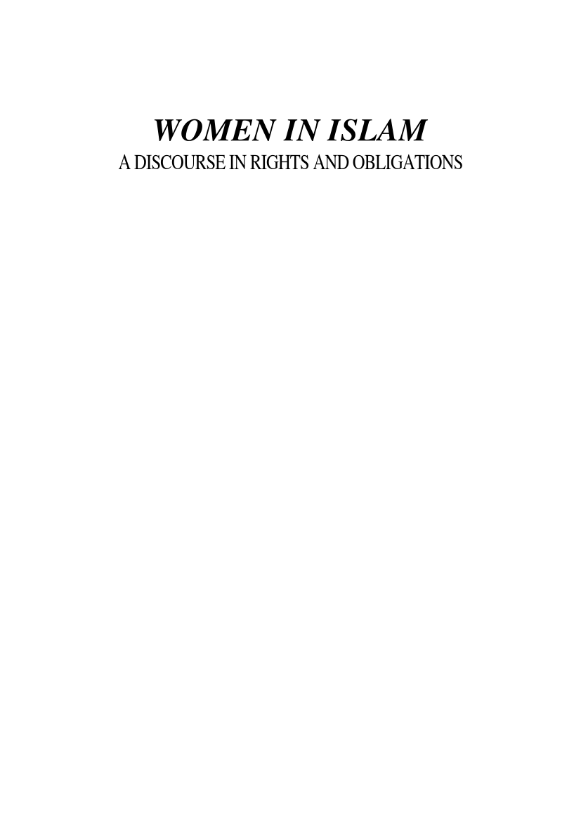 WOMEN in ISLAM - A DISCOURSE IN RIGHTS AND OBLIGATIONS