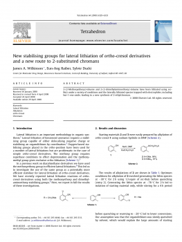 New stabilising groups for lateral lithiation of ortho-cresol derivatives