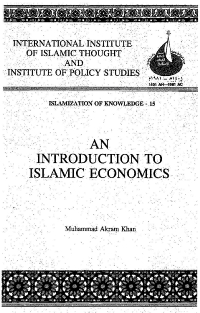 An Introduction to Islamic Economics