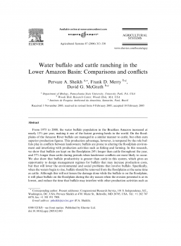 Water buffalo and cattle ranching in the Lower Amazon Basin Comparisons and conflicts