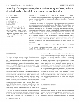 Feasibility of interspecies extrapolation in determining the bioequivalence of animal products intended for intramuscular administration