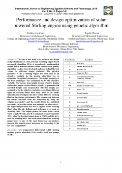new version Performance and design optimization of solar powered Stirling engine using genetic algorithm