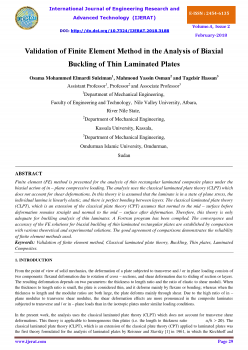 Validation of Finite Element Method in the Analysis of Biaxial Buckling of Thin Laminated Plates