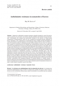 Anthelmintic resistance in nematodes of horses