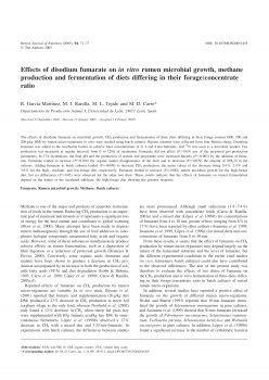 Effects of disodium fumarate on in vitro rumen microbial growth methane production and fermentation of diets differing in their forage concentrate ratio