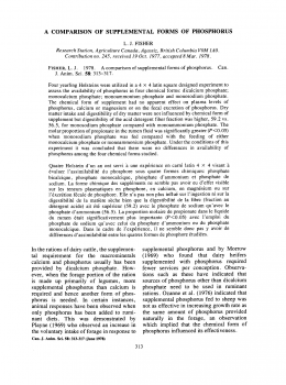 A comparison of supplemental forms of phosphorus