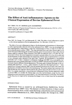 The Effect of Anti-inflammatory Agents on the Clinical Expression of Bovine Ephemeral Fever