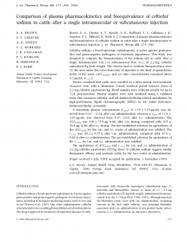 Comparison of plasma pharmacokinetics and bioequivalence of ceftiofur sodium in cattle after a single intramuscular or subcutaneous injection