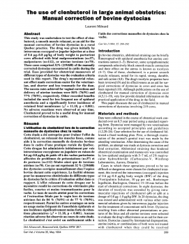 Use of Myometrial Relaxent in Manual Correction of Bovine Dystocia