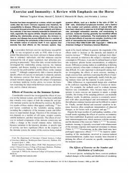 Exercise and Immunity A Review with Emphasis on the Horse