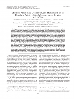 Effects of Amoxicillin, Gentamicin, and Moxifloxacin on the Hemolytic Activity of Staphylococcus aureus In Vitro and In Vivo