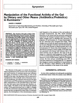 Manipulation of the Functional Activity of the Gut by Dietary and Other Means (Antibiotics Probiotics) in Ruminants