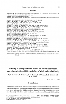 Fattening of young cattle and buffalo on straw based rations,increasing their digestibilities and effect of whole and crashed barley