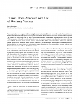 Human Illness Associated with Use of Veterinary Vaccines