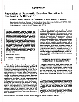 Regulation of Pancreatic Exocrine Secretion in Ruminants A Review