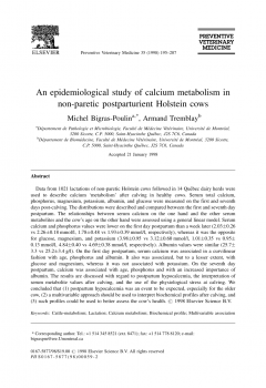 An epidemiological study of calcium metabolism in non-paretic postparturient Holstein cows