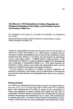 The effects of 1a-OH cholecalciferol on calcium, magnesium and phosphorus metabolism in dairy heifers, and its potential value for the prevention of milk fever