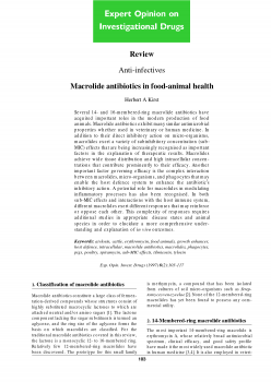 Macrolide antibiotics in food-animal health