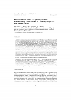 Pharmacokinetic Profile of Erythromycin after Intramammary Administration in Lactating Dairy Cows with Specific Mastitis