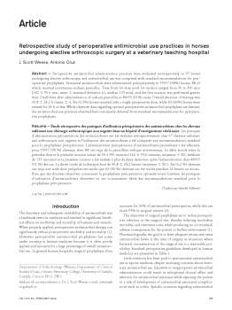 Retrospective study of perioperative antimicrobial use practices in horses undergoing elective arthroscopic surgery at a veterinary teaching hospital