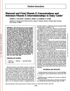 Maternal and Fetal Vitamin E Concentrations and Selenium-Vitamin E Interrelationships in Dairy Cattle1