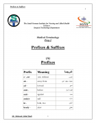 كتاب كتاب عن الـ Medical Prefixes and Suffixes pdf