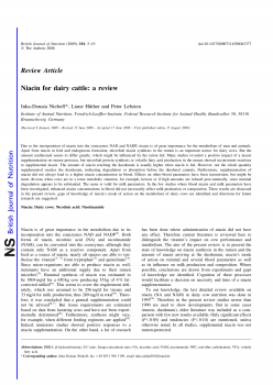 Niacin for dairy cattle a review