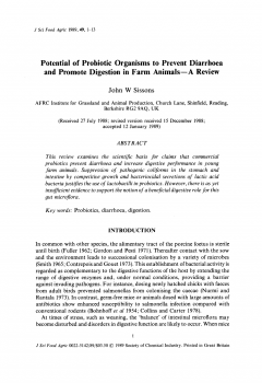 Potential of probiotic organisms to prevent diarrhoea and promote digestion in farm animals - A review