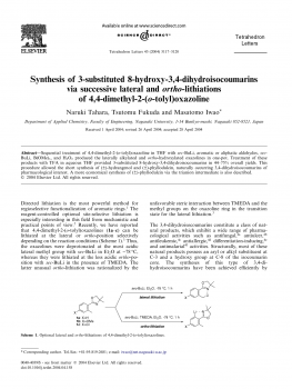 Synthesis of 3-substituted 8-hydroxy-3,4-dihydroisocoumarins