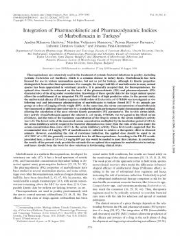 Integration of Pharmacokinetic and Pharmacodynamic Indices of Marbofloxacin in Turkeys