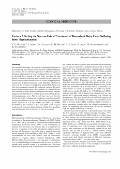 Factors Affecting the Success Rate of Treatment of Recumbent Dairy Cows Suffering from Hypocalcaemia
