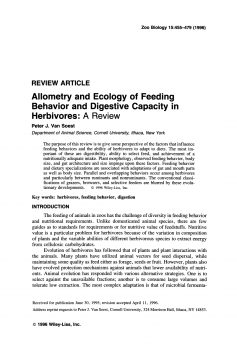 Allometry and ecology of feeding behavior and digestive capacity in herbivores A review
