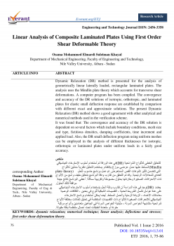 Linear Analysis of Composite Laminated Plates Using First Order Shear Deformable Theory
