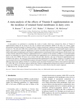 A meta-analysis of the effects of Vitamin E supplementation on the incidence of retained foetal membranes in dairy cows