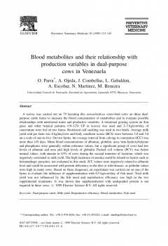 Blood metabolites and their relationship with production variables in dual-purpose cows in Venezuela
