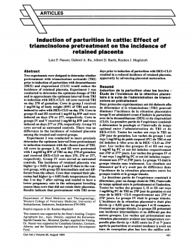 Induction of parturition in cattle Effect of triamcinolone pretreatment on the incidence of retained placenta