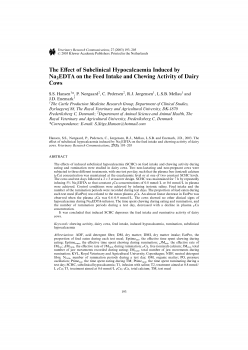 The Effect of Subclinical Hypocalcaemia Induced by Na2EDTA on the Feed Intake and Chewing Activity of Dairy Cows