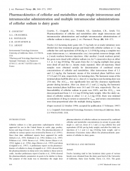 Pharmacokinetics of ceftiofur after single intravenous and intramuscular administration of ceftiofur sodium to dairy goats