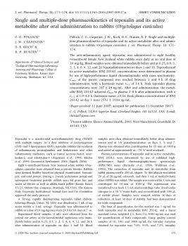 Single and multiple-dose pharmacokinetics of tepoxalin and its active metabolite after oral administration to rabbits (Oryctolagus cuniculus