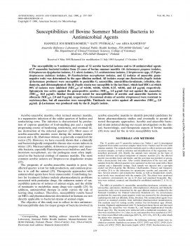 Susceptibilities of bovine summer mastitis bacteria to antimicrobial agents