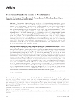 Occurrence of foodborne bacteria in Alberta feedlots