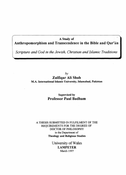 A Study of Anthropomorphism and Transcendence in the Bible and Qur an
