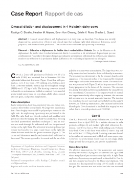 Omasal dilation and displacement in 4 Holstein dairy cows