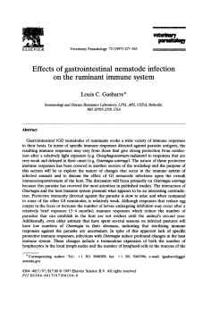Effects of gastrointestinal nematode infection on the ruminant immune system