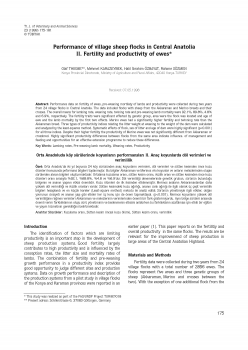 Performance of Willage Sheep Flocks in Central Anatolia.II. Fertility and productivity of ewes