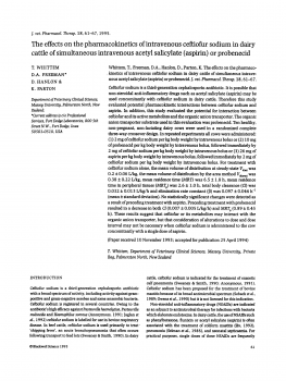 The effects on the pharmacokinetics of intravenous ceftiofur sodium in dairy cattle of simultaneous intravenous acetyl salicylate (aspirin) or probenecid