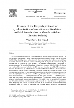 Efficacy of the Ovsynch protocol for synchronization of ovulation and fixed-time artificial insemination in Murrah buffaloes (Bubalus bubalis)