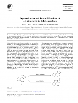 Optional ortho and lateral lithiations of4,4-dimethyl-2-(o-tolyl)oxazolines